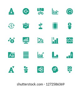 increase icon set. Collection of 25 filled increase icons included Sale, Chart, Extension manager, Growth, Font, Increase, Graph, Profit, Justify, Margin, Investment, Performance