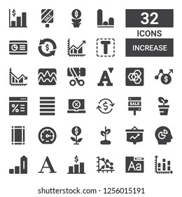 increase icon set. Collection of 32 filled increase icons included Chart, Font, Graph, Increase, Growth, Performance, Margin, Sale, Investment, Justify, Extension manager, Sales