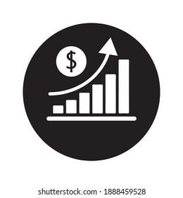 increase money growth icon on white background