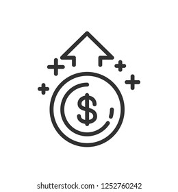 increase money. linear icon. Line with editable stroke