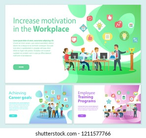 Increase motivation on workplace business banners achieve career goal vector. Employee training program for businessman, meeting and seminar with info