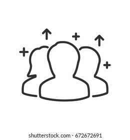 increase the number of visitors. Silhouettes of people, arrows up and plus