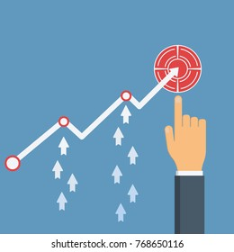 Increase sales. Businessman's hand points to profit growth financial chart. Diagram up, arrows up. Vector illustration flat design. Financial diagram. Profit growth, investment concept.