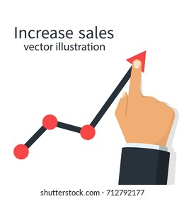 Increase sales. Diagram up. Businessman raises hand financial chart. Vector illustration flat design. Isolated on white background. Improve profit.