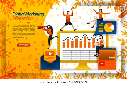 Increase sales with digital marketing videos, online promotions, email newsletters, concept vector ilustration. can use for landing page, template, ui, web, mobile app, poster, banner, flyer, website