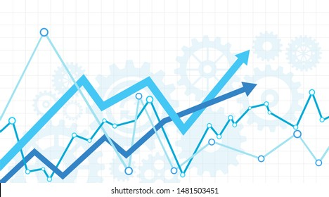 Increase success concept with arrows. Arrows move up on a white background.
