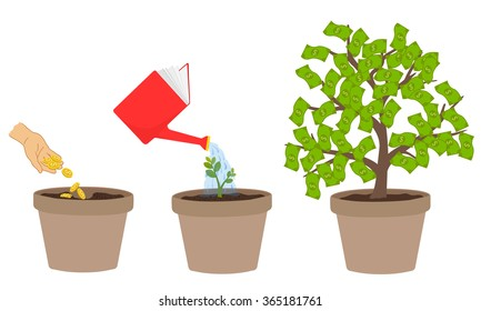 Increase the value of knowledge. Tree growing of coins to bank.