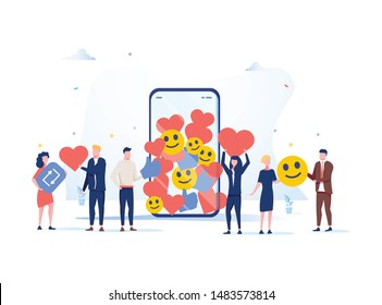 Increase your social media followers with successful marketing strategies, people bringing likes and reactions to a social media profile on a smartphone. SMM digital business background for website