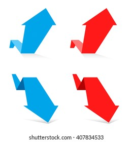 Increasing and decreasing graph set. Red and blue arrows depict growth and recession business. Flat vector chart concept illustration as an element for  web, publish infographic and social networks.