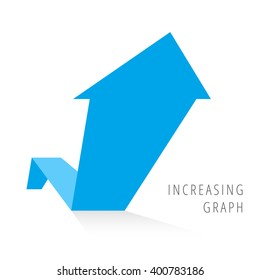 Increasing graph concept. Blue arrow depict growth business. Flat illustration of rise arrow with shadow as an element for infographic, article background for internet, publish, social networks.