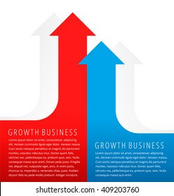 Increasing graphs concept. Red and blue arrows represent growth business and process. Flat infographic element for document, article, presentation, background for web, print, publish, social networks.