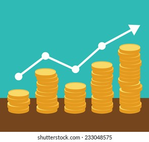Increasing piles of coins with going up graph. Concept for financial growth. Vector eps10.