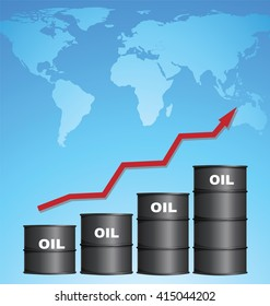 Increasing Price of Oil With World Map Background, Credit Map by NASA