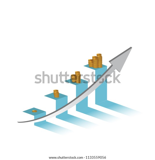 increasing profits on a business graph.financial concept. hitting the target. illustration design graphic isolated over white