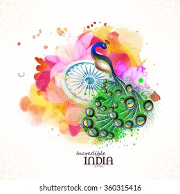 Incredible India, Creative illustration of Indian National Bird Peacock with Ashoka Wheel on beautiful floral design decorated background for Republic Day celebration.