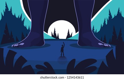 Incredible meeting of an ordinary man and a giant against the background of the night mountain landscape. Big legs of the giant in the frame. Night coniferous forest. Cartoon flat style illustration