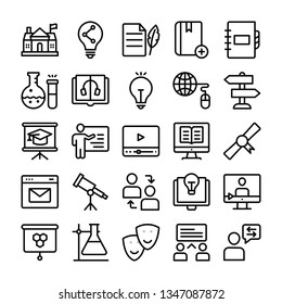Incredible science and educations line icons are over here containing superb and fantastic study related visuals, scientific experiments, graphic design and much more.