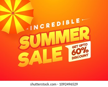 Incredible Summer Sale, poster, banner or flyer design with stylish text Umbrell and 60% off offers.