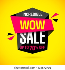 Incredible Wow Sale banner design template. Big super sale special offer, save up to 50% off. Vector illustration.