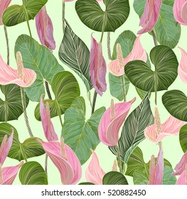 incredibly beautiful, juicy, bright, vector pattern with gentle pink tropical flowers - calla lilies. ideal for textiles, fabrics, prints and accessories.