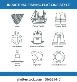indastrial fishing flat line style in vector format eps10