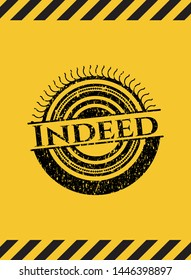 Indeed black grunge emblem, yellow warning sign. Vector Illustration. Detailed.