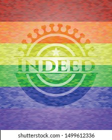 Indeed emblem on mosaic background with the colors of the LGBT flag