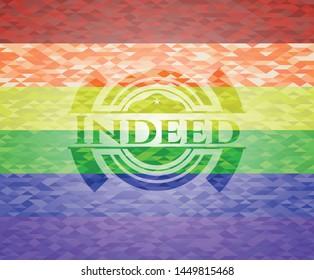 Indeed lgbt colors emblem. Vector Illustration. Mosaic.