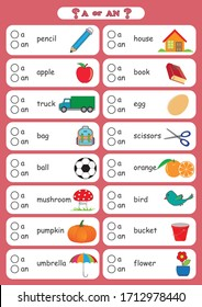 "a and an indefinite Article, choose the correct form ""a"" or ""an"" for each of the words below, A worksheet that gets children to practise using a or an, deciding which is the correct version when given"