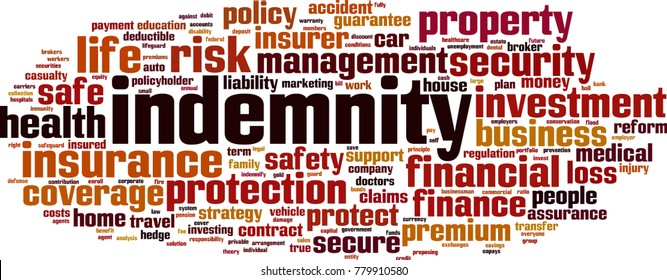 Indemnity word cloud concept. Vector illustration