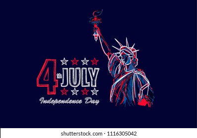 Independence Day 4 of July. hand-drawn statue of liberty.