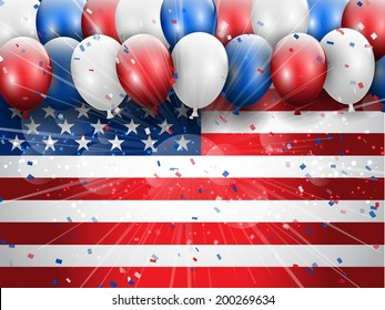 Independence Day 4th July celebration background with balloons and confetti