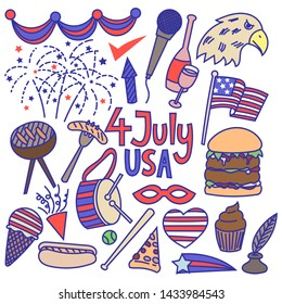 Independence day, 4th of july doodle
