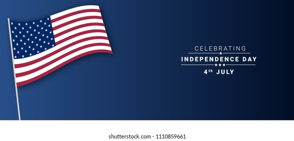 Independence day 4th july vector banner with american flag design and illustration.