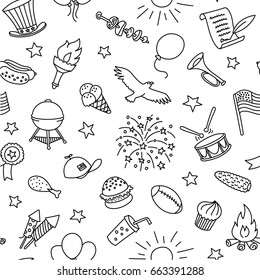 Independence Day 4th Of July Vector Seamless Pattern And Background