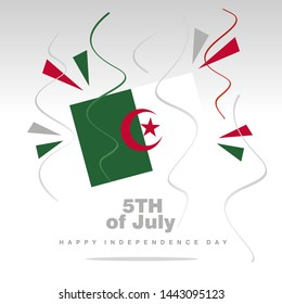 Independence Day Algeria flag with confetti 5th of July isolated on white background