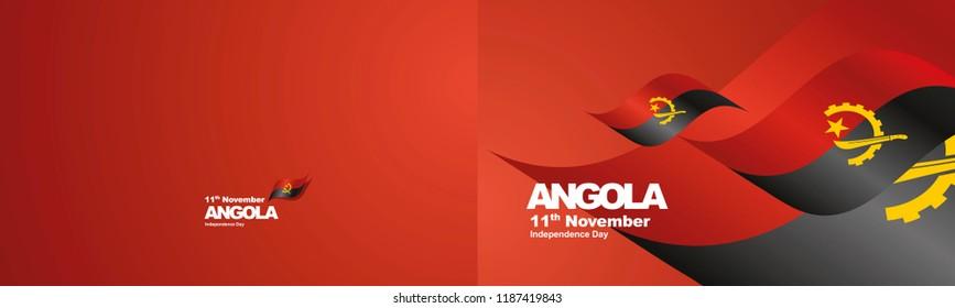 Independence Day Angola flag ribbon two fold landscape background