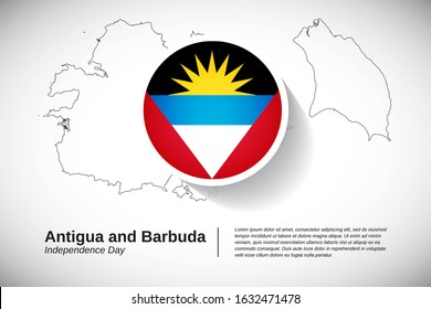 Independence day of Antigua and Barbuda. Creative national holiday of Antigua and Barbuda with map design elements and country flag in circle. Modern greeting card, banner vector illustration.