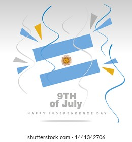 Independence Day Argentina flag with confetti 9th of July isolated on white background
