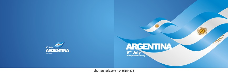 Independence Day Argentina flag ribbon two fold landscape background