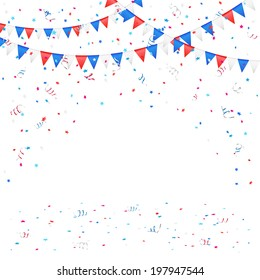Independence day background with colored flags and confetti, illustration.