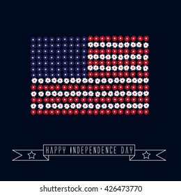Independence day background.The national flag of flowers.Fourth of July.Vector illustration