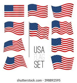 independence day background set of united states flag usa american symbol wavy shape