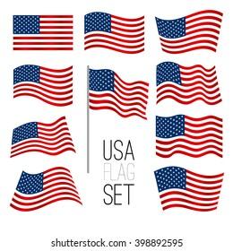 independence day background set of united states flag usa american symbol wavy shape