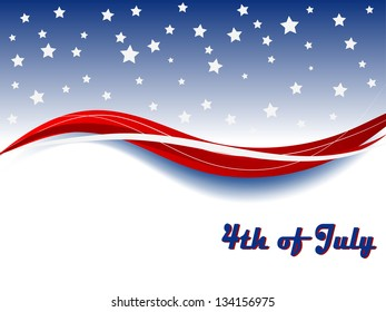 Independence day background with wave and stars