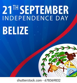 Independence day of Belize. Flag and Patriotic Banner. Vector illustration