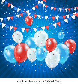 Independence day blue background with balloons, pennants and confetti, illustration.