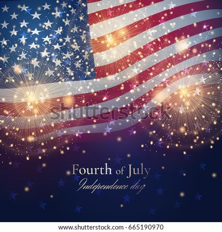 independence day celebration background golden fireworks stock