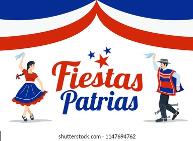 Independence Day celebration of Chile, Illustration of man and woman dancing