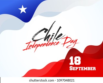 Independence Day of Chile Background Design with waving pattern and text 18 September.